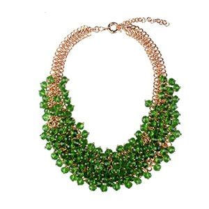 Green beads + gold statement collar necklace - 2 for 30$